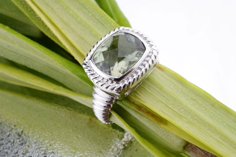 Octagon Green Amethyst Covered 925 Sterling Silver Ring.Perfectly crafted for that ever last shine.