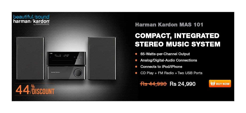 Harman Kardon MAS 101 Music System  65-Watts-per-Channel Output Analog-Audio Connections Connects to iPod/iPhone Digital-Audio Connections  Key Features  65-Watts-per-Channel Output – Distortion-free sound at any listening level  Digital-Audio Connections – Two coaxial and two optical digital inputs and one coaxial digital output maximize connection flexibility and eliminate D/A conversions for maximum sound quality Analog-Audio Connections – Two stereo RCA inputs for full-size audio components and one stereo 3.5mm (1/8