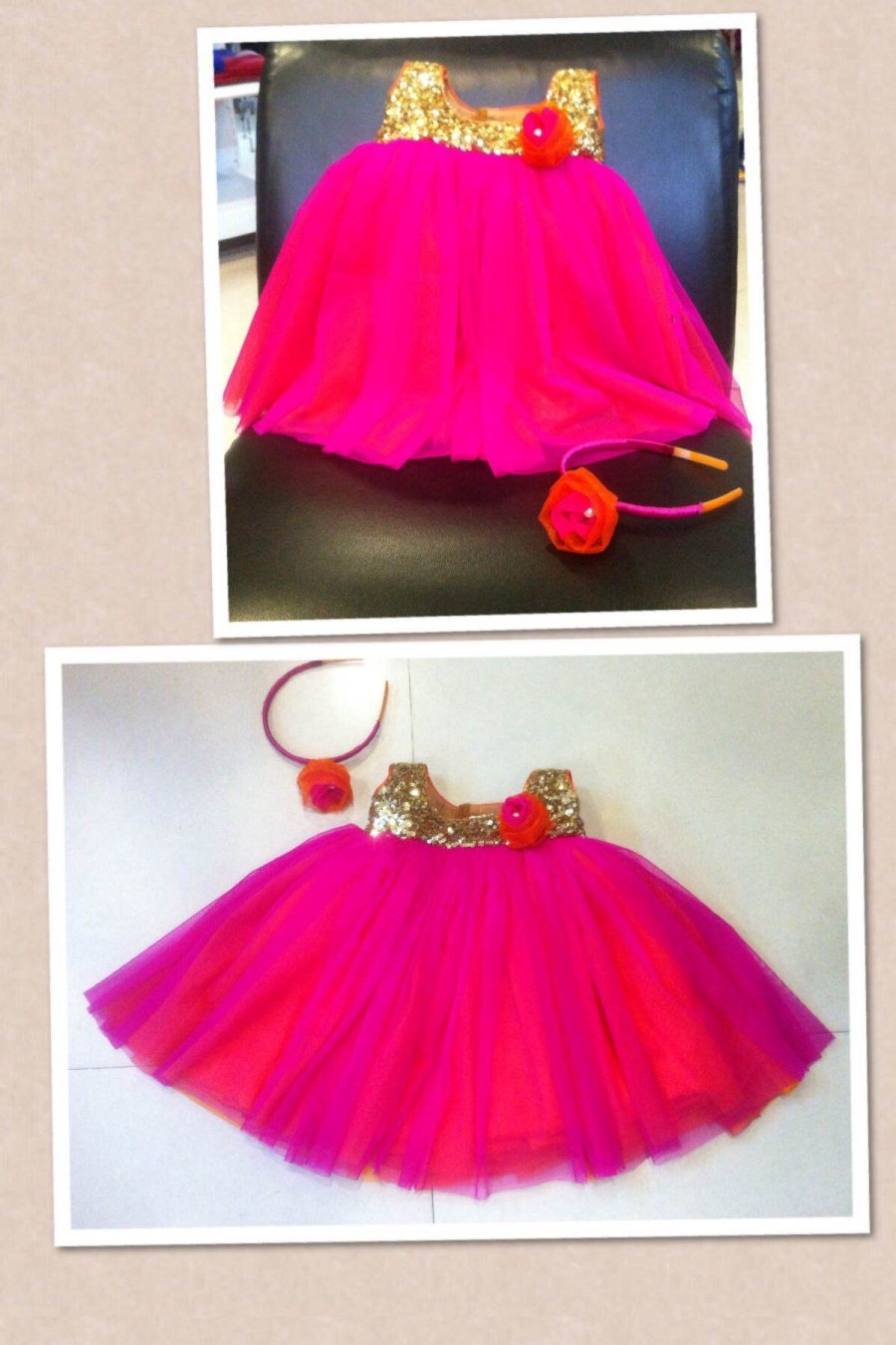 Pink n orange frock for 3 months old with hairband