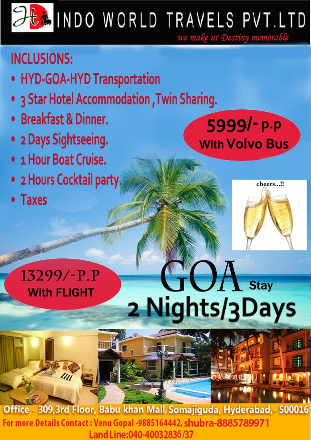 Goa holiday packages from hyderabad