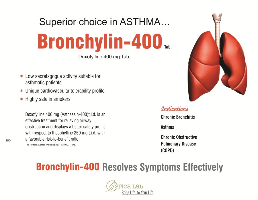 BRONCHYLIN-400.  DOXOFYLINE 400MGIS AN EFFECTIVE TREATMENT FOR RELIEVING AIRWAY OBSTRUCTION AND DISPLAYS A BETTER SAFETY PROFILE WITH RESPECT TO THEOPHYLLINE  250MG.  INDICATIONS : CHRONIC BRONCHITIS, ASTHAMA, CHRONIC OBSTRUCTIVE, PULMONARY DISEASE.