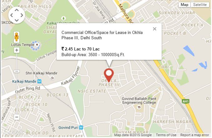 Office Space for Lease in Okhla Phase III, Delhi South Address: Okhla Phase III, Delhi South, Delhi / NCR  Builtup Area : 3500.00 - 100000sqft Rent Price: ₹ 2.45 Lac to 70 Lac  Fully furnished offices for immediate lease in okhla phase-3 suitable to orporatees and mncs Booking Amount : ₹ 50000/-