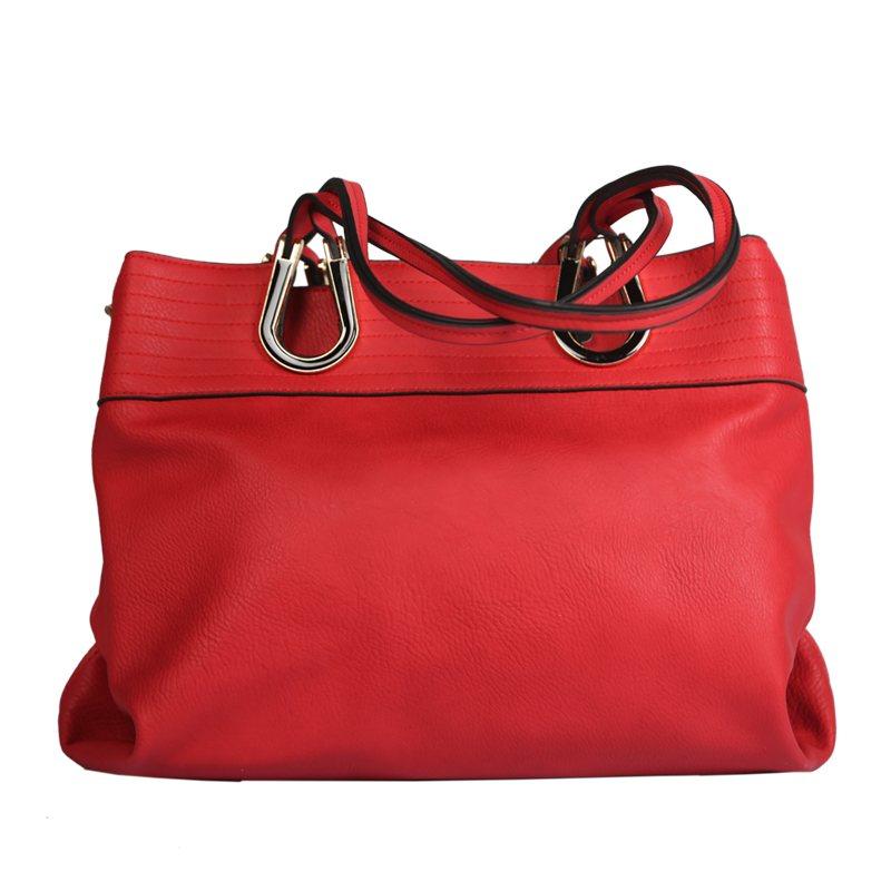VFM Red Hand Bag  2 Zip Closure Zipper Pocket at Back 2 Compartments ideal For Women