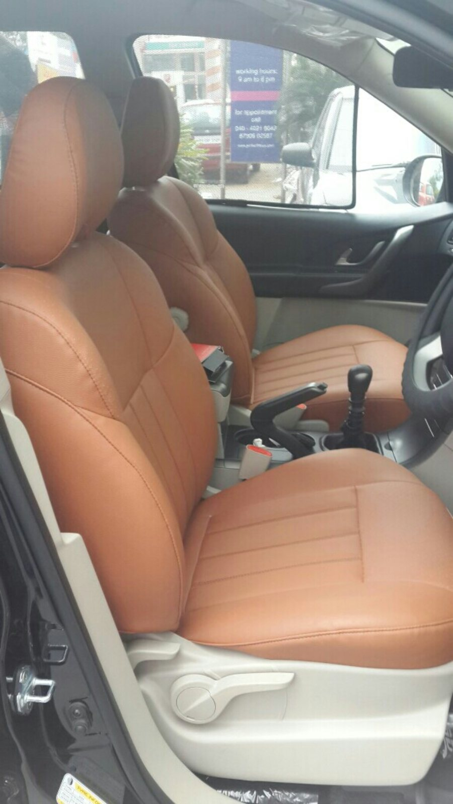 Autoform seatcovers in all interior and other colours now available at motominds.. In picture is Dark tan seatcovers for xuv 500. .