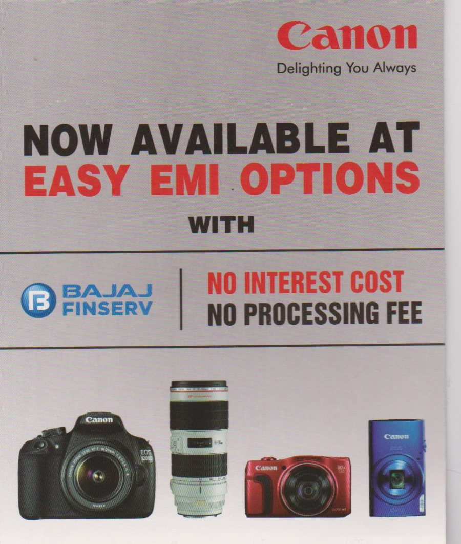 Canon All DSLR Cameras and Canon Lens and DC Cameras On BAJAJ O% EMI in Jubileehills Canon Image Square
