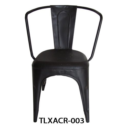 Black Armchair  · Metal Vintage cafe Chair  · Antique Black Finish  · Stackable chair  · Made of Iron  · Product # TLXACR-003  for Order and Inquiry,  Please contact us : info@villeinternational.in