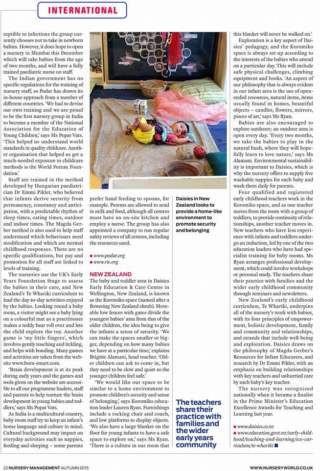Our day-cares were featured in UK's top magazine Nursery World.  Global curriculum through EYFS, UK and meeting the needs of Indian parents. TAGS: ----- #BESTPRESCHOOL #BESTDAYCARE #KINDERGARTEN #PRESCHOOL #DAYCARE #CHILDCARE #NURSERY #MONTESSORI #EYFS #PARENTING #BANASHANKARI #SARJAPUR #HSR #BANGALORE #GLOBALAWARD