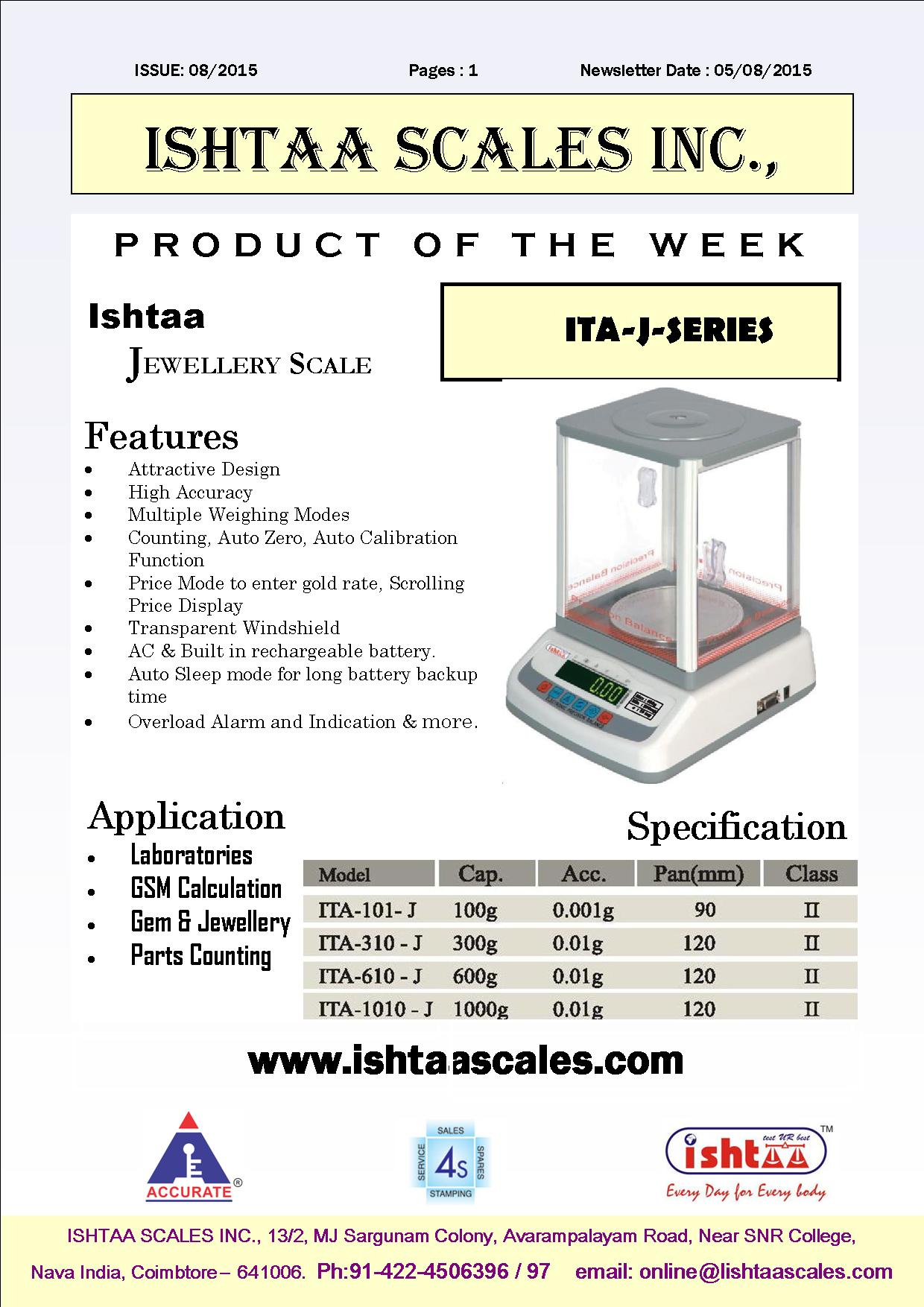 Most Efficient Jewellery Scale - High Accuracy   Ishtaa - ITA J Series  Best Choice for All Precision Weighing, Scientific Weighing and Laboratory Weighing. Call: 09843016028 ; Mail: online@ishtaascales.com