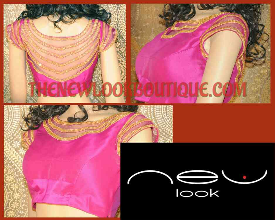 Stone lase work on a Netted blouse from one of the best Designs in Bangalore..