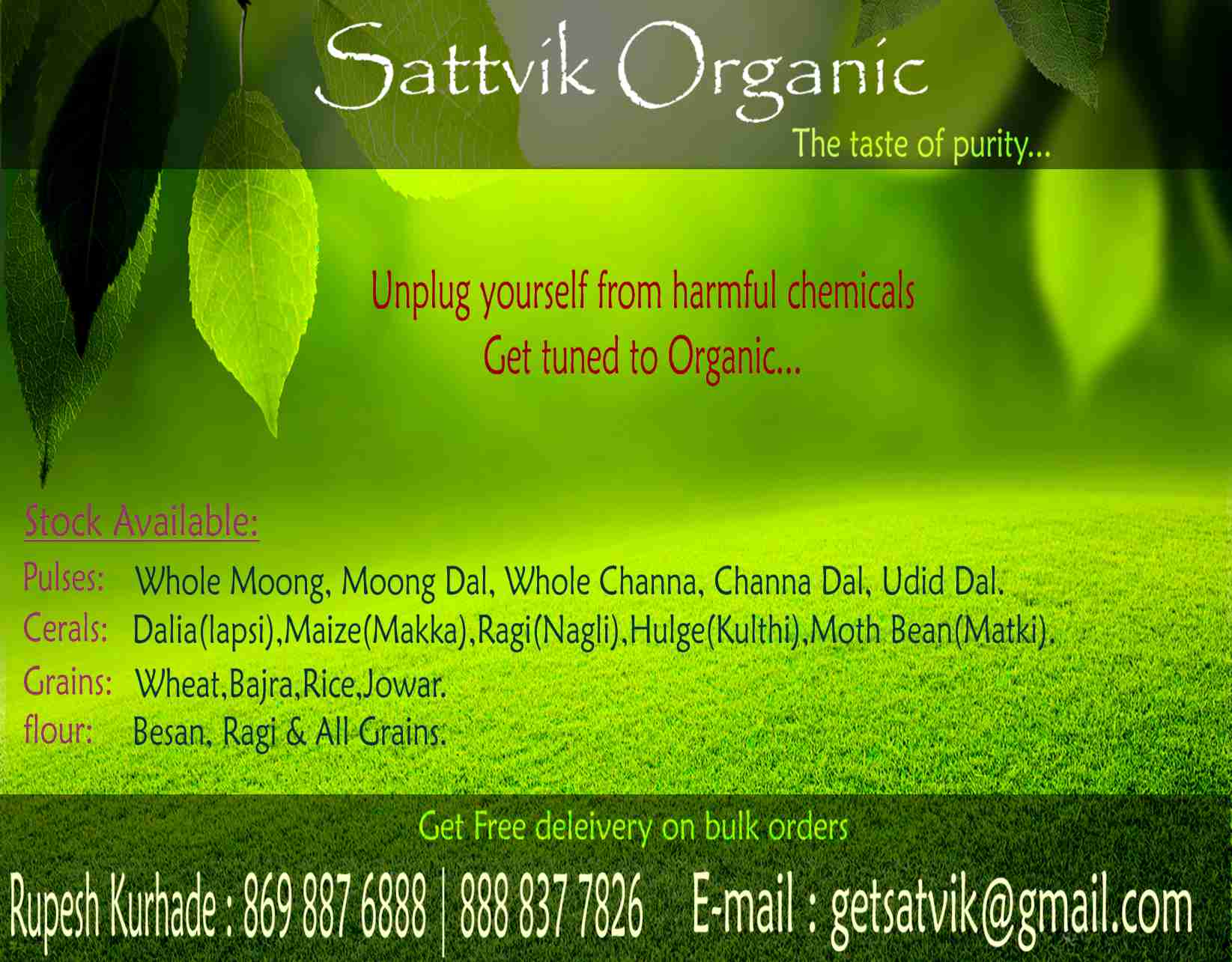 Grab your sattvik products online. #know your farmer #know your food. .