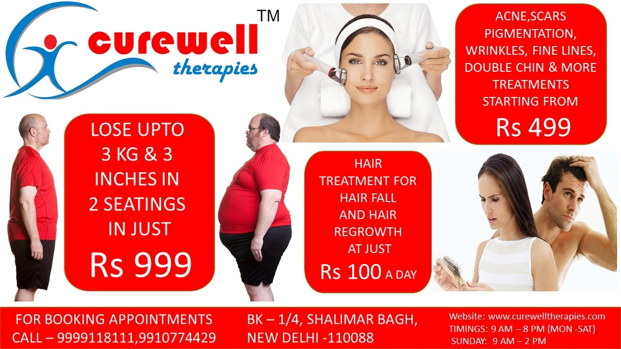 Latest weight loss, skin treatments & hair treatment offers by Curewell Therapies