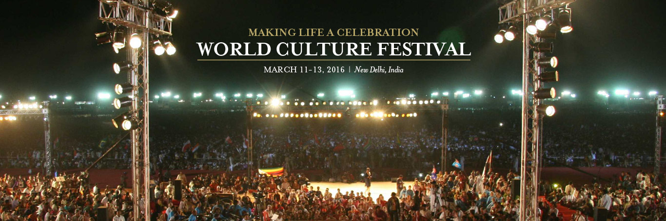 The World Culture Festival  After 25 years by The Art of Living in humanity and human values, we call to celebrate The World Culture Festival 2016. This festival will celebrate the diversity of culture India have with lots of cultural programs and games.   The World Culture Festival 2016 will celebrate from 11 March 2016 to 13 March 2016, at New Delhi.  This culture festival will be one of the biggest cultural gathering having more than 155 countries and 3.5 million people celebrate the diversity and colorful variations of culture around the world. The World Culture Festival 2016 will showcase:  Large culture amalgamation  Leadership forum Inter faith meet guided by meditations Musical performance Dance performance  So, come and be a part of world biggest cultural meet this march. For more details, contact http://www.artofliving.org/world-culture-festival