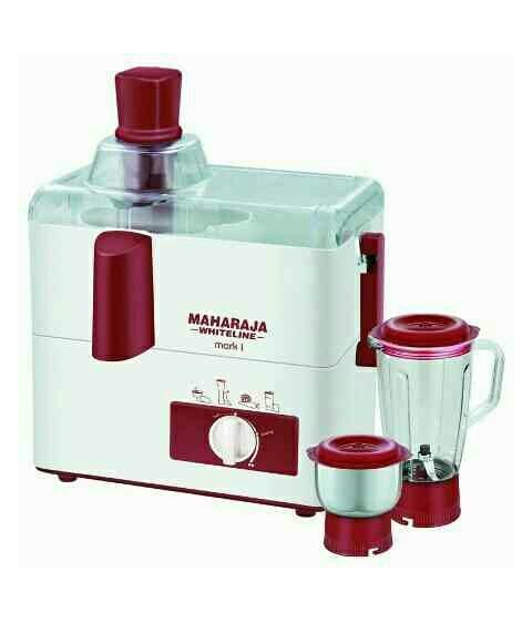 Maharaja Whiteline Juicer Mixer Grinder   Key Features  Innovative FunctioningDurable, Provide Consistent, Grinding Safe Opera   About the Product  Featuring speedy and innovative functioning, this kitchen appliances are a luxury you simply cannot do without. This mixer grinder model delivers consistent results in a short time. Fitted with a blender jar, you can prepare mouth watering chutneys, tomato and curd purees, grind masala ingredients in wet and dry consistency. With the this mixer grinder, you can kick start your daily morning routine with health smoothies or prepare delicious cocktails and milkshakes when guest comes over.  Specification  Product id:1827129TITLE:Maharaja Whiteline Juicer Mixer GrinderCOLOR:White & RedBRAND:Maharaja WhitelineMANUFACTURE:Maharaja Whiteline