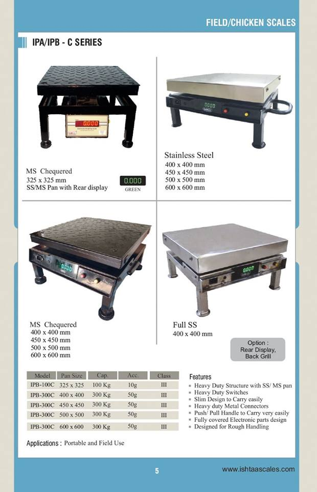 Best Chicken/Field Scales for Sale.. Ishtaa - IPA/IPB C Series MS/SS  Click here to buy @ best Price http://goo.gl/MMQfSJ Weighing Scales for Poultry Farms,   Weighing Scales for  Dairy Farms,  Weighing Scales for Commercial Purposes,  Weighing Scales for  Godowns & Warehouses,  Weighing Scales for  Agricultural,  Weighing Scales for  Wholesalers   Weighing Scales for grocery,  Weighing Scales for  Industrial, Medical Gas,  ‪#‎Features‬: 1. Heavy Duty Structure with SS/MS Pan 2. Heavy Duty Switches 3. Heavy Duty Metal Connectors 4. Slim Design to Carry easily 5. Push/Pull Handle to Carry very easily 6. Fully covered Electronic parts design 7. Designed for Rough Handling For Orders,  Call: 09843016028 Mail: online@ishtaascales.com Web: www.accurateworld.com www.ishtaascales.com