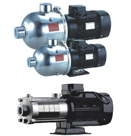 Horizontal multistage stainless steel centrifugal pump  Air conditioning system Cooling system Industrial cleaning Water treatment (Water purification) Fertilizing / metering system Environment application Performance range: Flow Range (Q)0.5 - 28.0M3/hr Delivery HeadMax. 67.0 Bar Liquid Temperature-15°C~+ 110°C Speed (n)2900rpm or 3500rpm Power (P)up to 55 kw *2 MOCSS-316 & SS-304 Standard material All the parts contact with liquid made of 304 stainless steel, 316 stainless steel on request. The pump head and suction & discharge can be made of cast iron on request too. Description : Horizontal multi stage pumps has Compact design Low-noise and long service life, Easy to install & operate Energy efficient Horizontal multistage design with stainless steel stamping welding impeller and diffuser, three different type for choice. Single phase motor up to 2.2kw Class F and IP55 motor is standard.  Standard supply for liquid temperature up to 70℃, high temperature pump are available on request.