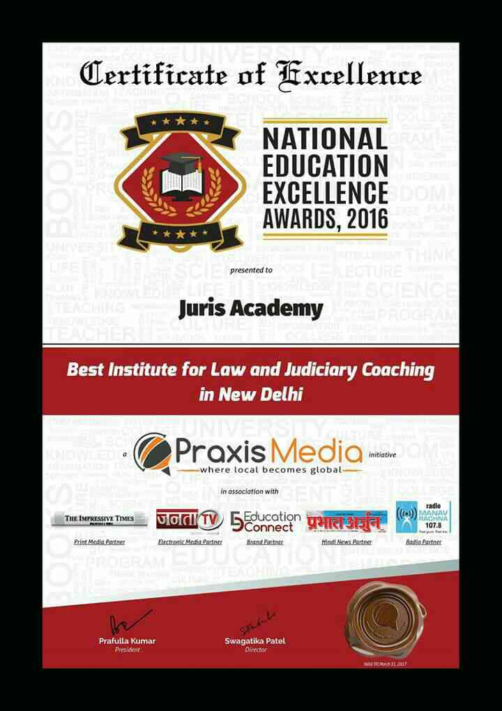 Juris Academy is awarded as best law and Judiciary coaching Academy of Delhi ...