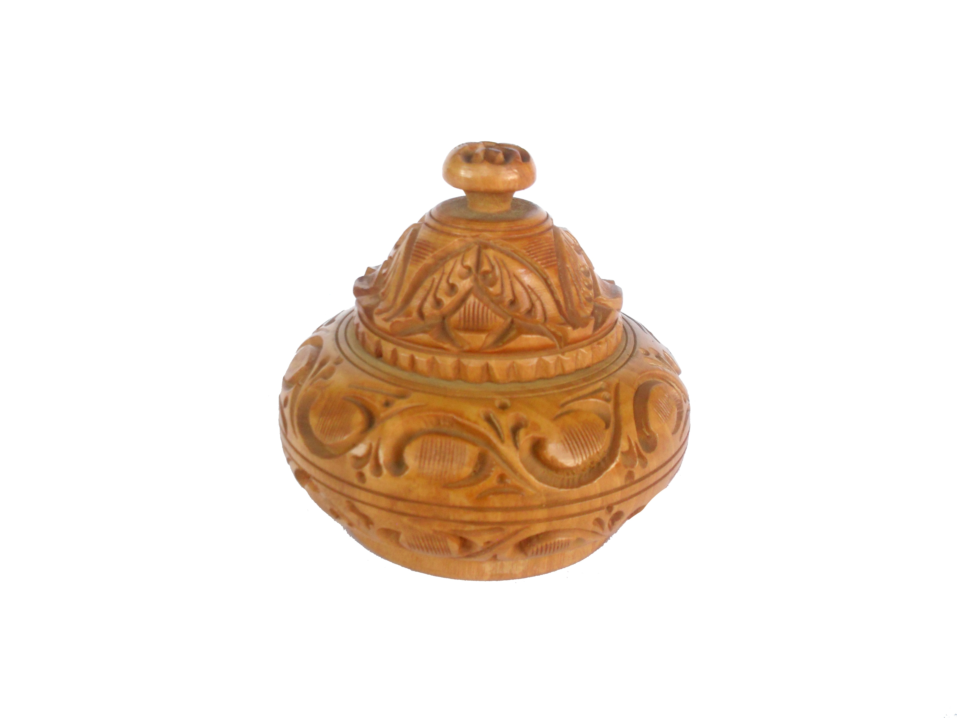 A round pot shaped decorative, wooden jewellery box handcrafted from beautiful cedar wood, adorned with simple design carving on the top of the box . Wooden Jewellery box   to store all your precious jewelry like earrings, toe rings & cufflings. Use it to adorn your dressing table or any corner table of your choice.