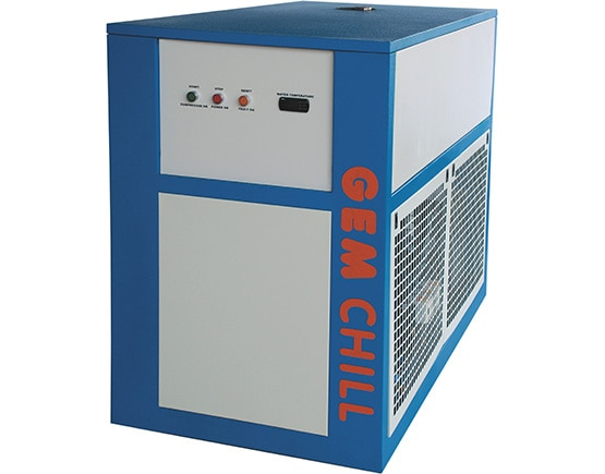 Manufacturers of Industrial Refrigeration Chillers.  The industrial chillers we offer are built in closed stainless steel tanks. The rigid steel frame construction has a power coating finish and hence is weather resistant. It is designed to maximise exchanger efficiency. The heat exchanger is of coaxial type and uses copper tubes in a coiled tube in tube arrangement. This arrangement maximises heat transfer rate with minimum pressure drop. To further increase heat transfer efficiency, a counter flow pattern is used that achieves maximum temperature difference.  SALIENT FEATURES:  Compact - occupies minimum space Built in closed stainless steel tank Stainless steel high pressure pump for reliable operation Microprocessor control (Optional) Reduced Maintenance » More heat transfer area Temperatures -5o to +30oC Capacity: 0.75 to 100 TR