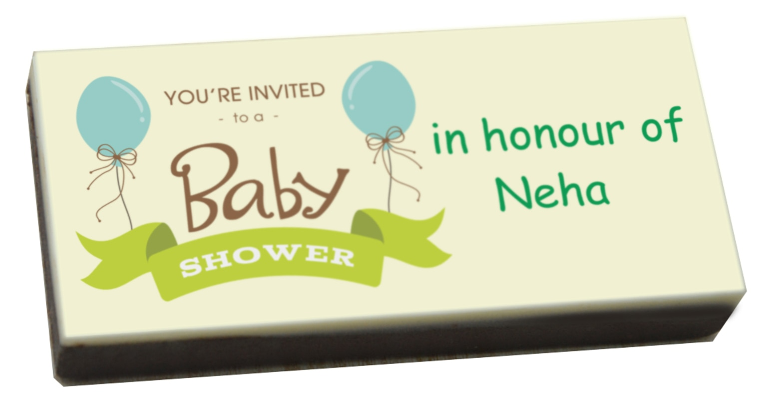 Baby showers are happy occasions when you share the joy of parenthood with your loved ones. Baby shower invitations can be unique and innovative in the form of printed chocolates. Send this unique baby shower gifts to your loved ones that will surely surprise them. Our chocolates are made from quality ingredients with the prints done in edible ink. We can print a cute baby theme image or a simple thank you on the chocolates for your guests.  https://www.chococraft.in/pages/baby-shower-invitation-gifts-printed-bars