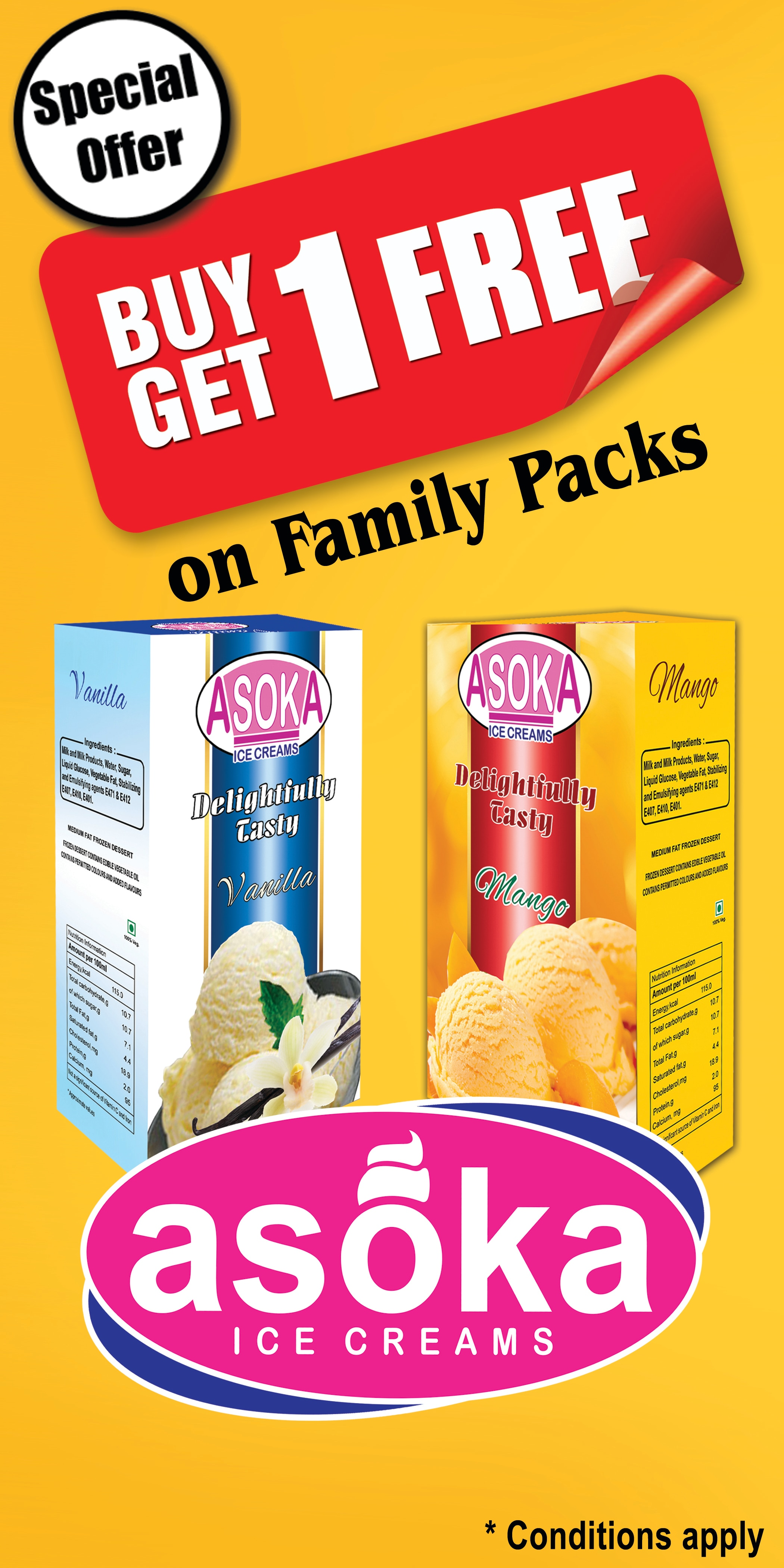 we have what you are waiting for this summer.yes.buy 1 get 1 free offer on family packs.enjoy our range of flavours from natural fruits and nuts.