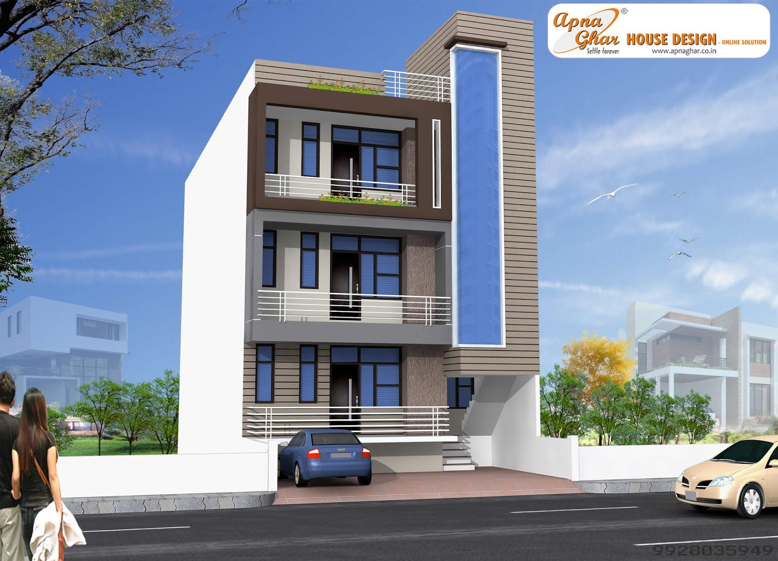 Single floor 1 story house plans 3 bedroom home designs elevation designs for 4 floors