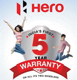 All Hero Motor Cycles comes with 5 year or 70, 000 Kms.Warranty whichever is earlier*  All Hero Scooters comes with 5 year or 50, 000 Kms. Warranty whichever is earlier*  All Hero Products comes with 6 Free Service*