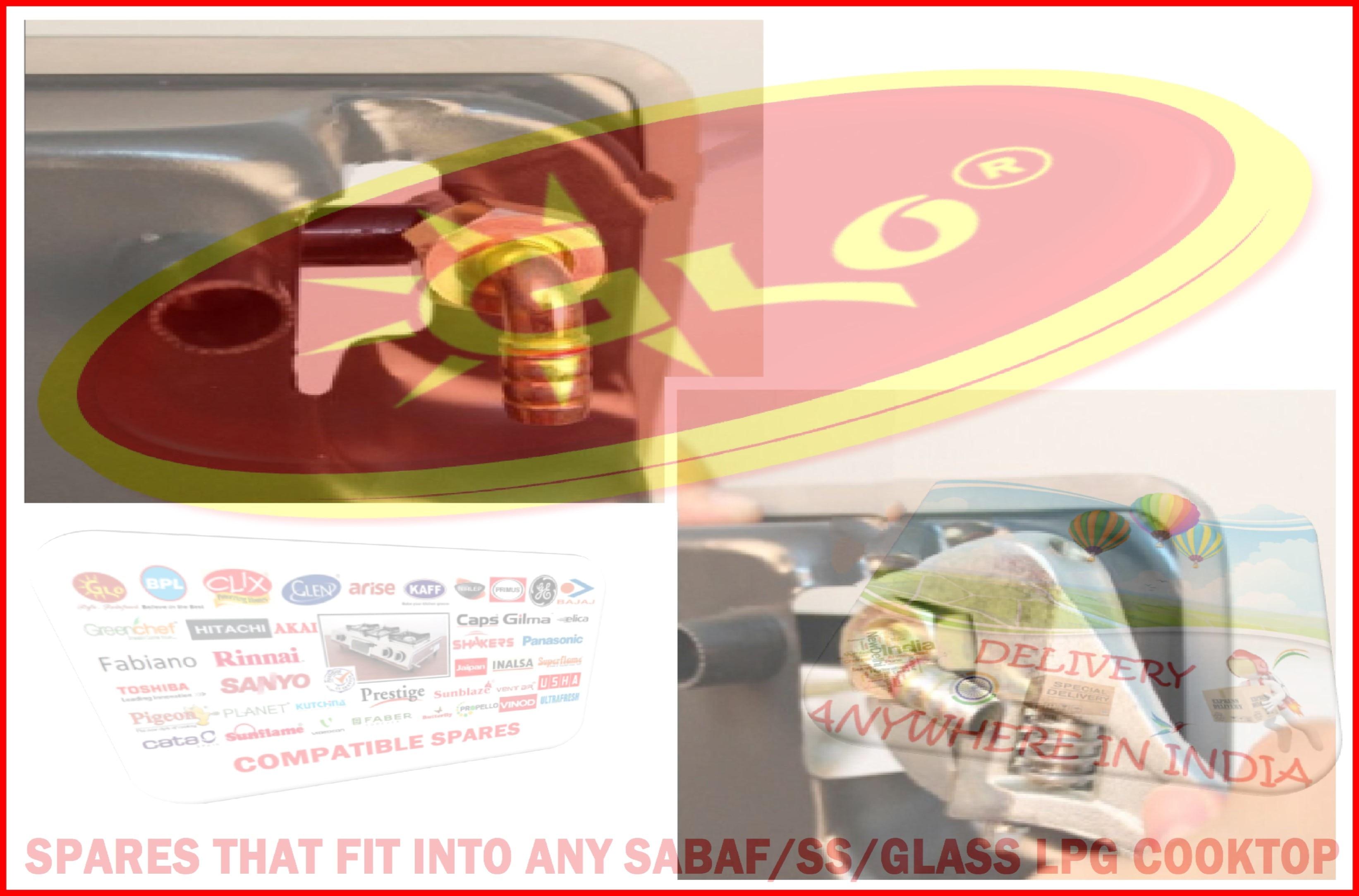 YOUR SEARCH ENDS HERE  Now any Teflon/SS/Glass/Granite LPG COOKTOP SPARES of Major Cooking-Stove Brands can be SHIPPED across to ANYWHERE you stay in INDIA & SAARC Nations.  Its a very common experience to get MISLD by Unscupulous Search Sites like Just-Dial, Sulekha, Tamboori, etc who mislead you into calling half-baked mistries during a   gas-stove-emergency into your kitchen for your stainless-steel-gas-stove-service without even carrying proper tools or gas-stove-spare-parts, like gas-burner,   suraksha-pipe, lpg-hose, suraksha-hose, lpg-pipe, sabaf-burners, super-big-burners, triple-ring-burners, china-glass-top-spares, china-granite-top-cooktops, peizo-  ignition, auto-ignitor-assembly, auto-ignition-valves, on-off-knobs,  whirlo-brass-top-burners, china-glass-spare-parts, china-glass-burners. One can only IMAGINE their capabilities without having critical cooktop-spares in a situation of glasstop-crack, knob-breakage, burner-leakage, glass-top-breakage,   gas-stove-leak, gas-stove-leakage.  No wonder they soon display their TRUE INTENTIONS, Instantly by slowly brainwashing you into EXCHANGING your favorite possession by saying that it has become obsolete,   the company is no more, spares are no more available, etc.  BEWARE of such CROOKS.  A True SERVICE CENTRE would rather suggest you ways and means of saving your Hard-Earned Money by trying to increase your Gadgets's life and Sparing you the PAIN of   Letting it go for SCRAPPING.  Lpg Cooktop Spares which are Multi-Brand (gas-stove, lpg-gas-stove, , cooking-range, lpg-gas-cooktop, gas-oven, gas-chulha, glass-top-cook-top) compatible like,   ceramic spark plugs, mixing tubes, brasstops of any diameter, sabaf tops of any make, knobs of any make, rubber legs, steel parts of any cooktops, gas-stove-pan-  supports, gas-stove-rubber-legs, standyby-lpg-regulator,  gas-leak-detectors, standby-cylinder, gas-leak-alarms, 2kg-cylinder, 4kg-cylinder, gas-lighter, lpg-  trolley, cast iron or alloy burners....can be arra