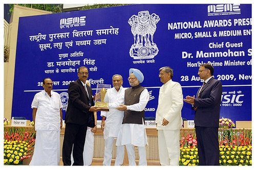 MSME National Award Winner 1st Prize - Outstanding Entrepreneur of the year 2008. Mr. A.K. Nehra - Director, BELZ INSTRUMENTS PVT. LTD.  Award presented by Hon. Prime Minister Dr. Manmohan Singh at Vigyan Bhawan, New Delhi on 28th Aug. 2009.