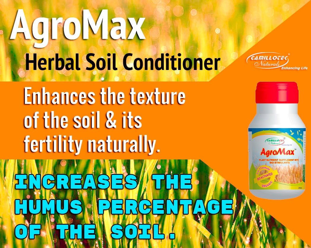 AgroMax  Herbal soil conditioner   It is a completely non synthetic herbal soil conditioner.  It is enhances the texture of the soil as well as its fertility. Moreover, our range also increases the humus percentage of the soil.   Prepared using finest herbs, this conditioner is effective supplement of different types of plants. Improved Nutrient & water uptake Improved Root Growth Reduced transplant shock.  Application : First application 2 ml /liter of water. Thereafter 4ml/liter of water. Apply in all growing stages. May repeat in every 15 - 20 days. Compatible with all fertilizers and pesticides.  pack size: 50ml