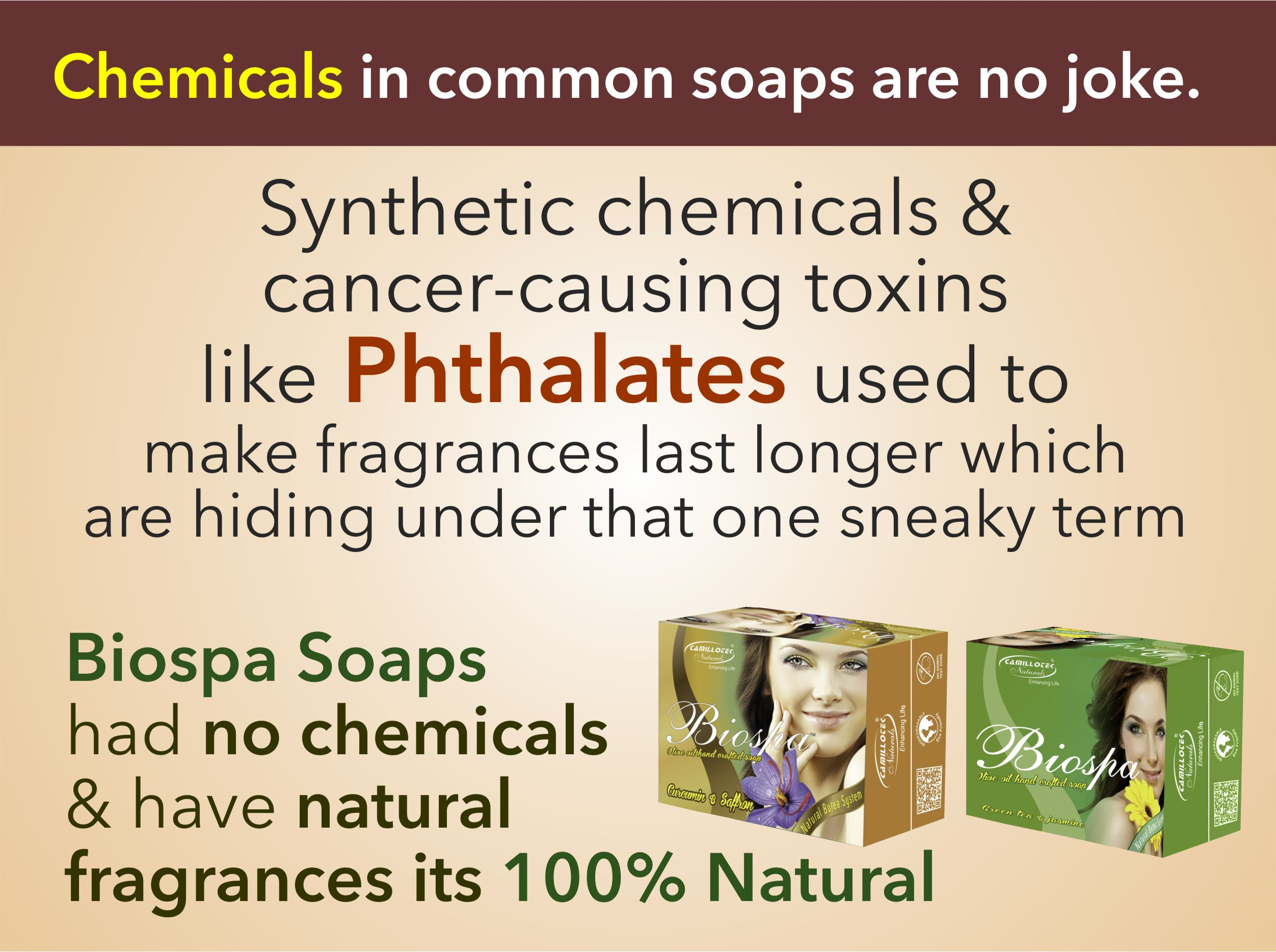Biospa Jasmine & Curcumin Certified organic and natural soaps  Traditionally handmade in small batches without Palm Oil. Options for extra sensitive skin. Scents come from pure essential oils.  Natural soap handmade with organic olive oil, pure essential oils, wild & organic herbs, plus sustainable business practices. Get the finest Toxin-free, natural soap products.  Three Major Benefits of our Natural Soaps 1. INGREDIENTS : The very best reason to use our handmade soap is the ingredients. Typically our handmade soap is made of vegetable oils and butters that are rich in antioxidants, vitamins and nutrients that are essential to healthy skin.  2. REAL SOAP : Now a days soap is created for commercial purpose with chemicals not for health concern. But our Biospa soap is 100% Natural & no harmful and unnecessary ingredients are NOT added to make it.  3. GLYCERIN : Glycerin is a precious emollient that softens and maintains water balance by attracting moisture to skin.