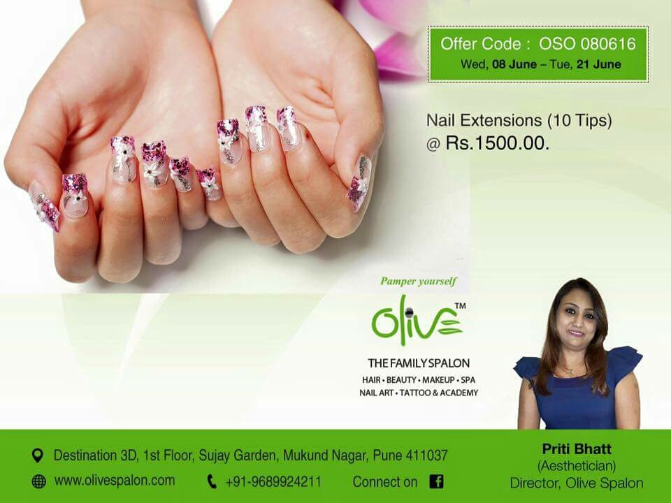 At Olive Spalon we have the most skilled nail art designers in Pune. Our professionals are skilled at making the minutest of designs on your nails. We also use unique embellishments so that your nail art is one of the best nail arts in Pune.  Get cool nail extensions- Ten Tips  @₹1500/-. Offer valid till 21 June.  For other services, please call Aesthetician Ms. Priti Bhatt office today +91 9689924211. • Come; Pamper yourself at the Olive - The Family Spalon, Mukund Nagar, PUNE.  Visit our websites to know more about our other services  http://www.olivespalon.com/nail-art.html