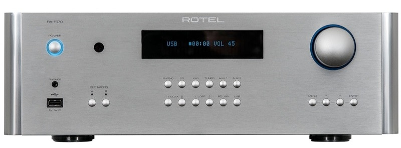 Rotel RA-1570 Stereo Integrated Amplifier Integrated amplifiers have always attracted audio enthusiasts who seek the benefits of separate preamplifiers and amplifiers but who are constrained by space or budget. Rotel, a multinational audio corporation, designs many of its products in England and Asia, but manufactures them in their very own factory in China, using premium parts and very high quality control standards. The RA-1570 stereo integrated amplifier has now arrived on our shores with an entirely new design, a lot of cool features, and quite reasonably priced.   The Good : Smooth operation Great build quality Plenty of power Sufficient analog and digital inputs Additional balanced input Compatible with Rotel link sources Excellent internal DAC capable of most current high resolution formats Good USB audio performance Flawless Bluetooth audio operation Accommodates an outboard signal processor Defeatable tone controls Legible display panel