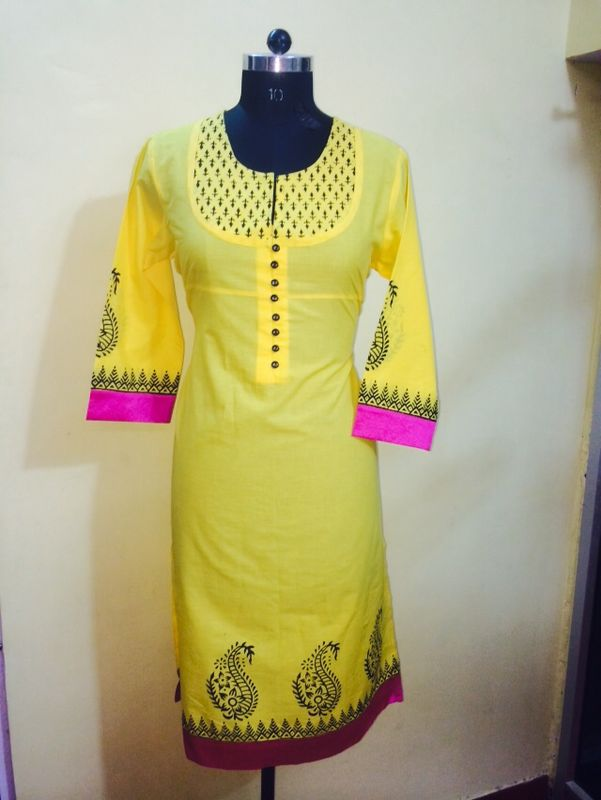 we are manufacturing plain dye kurti with small touch of printed fabric and hand block look different in this kurti in pratap nagar sanganer jaipur.
