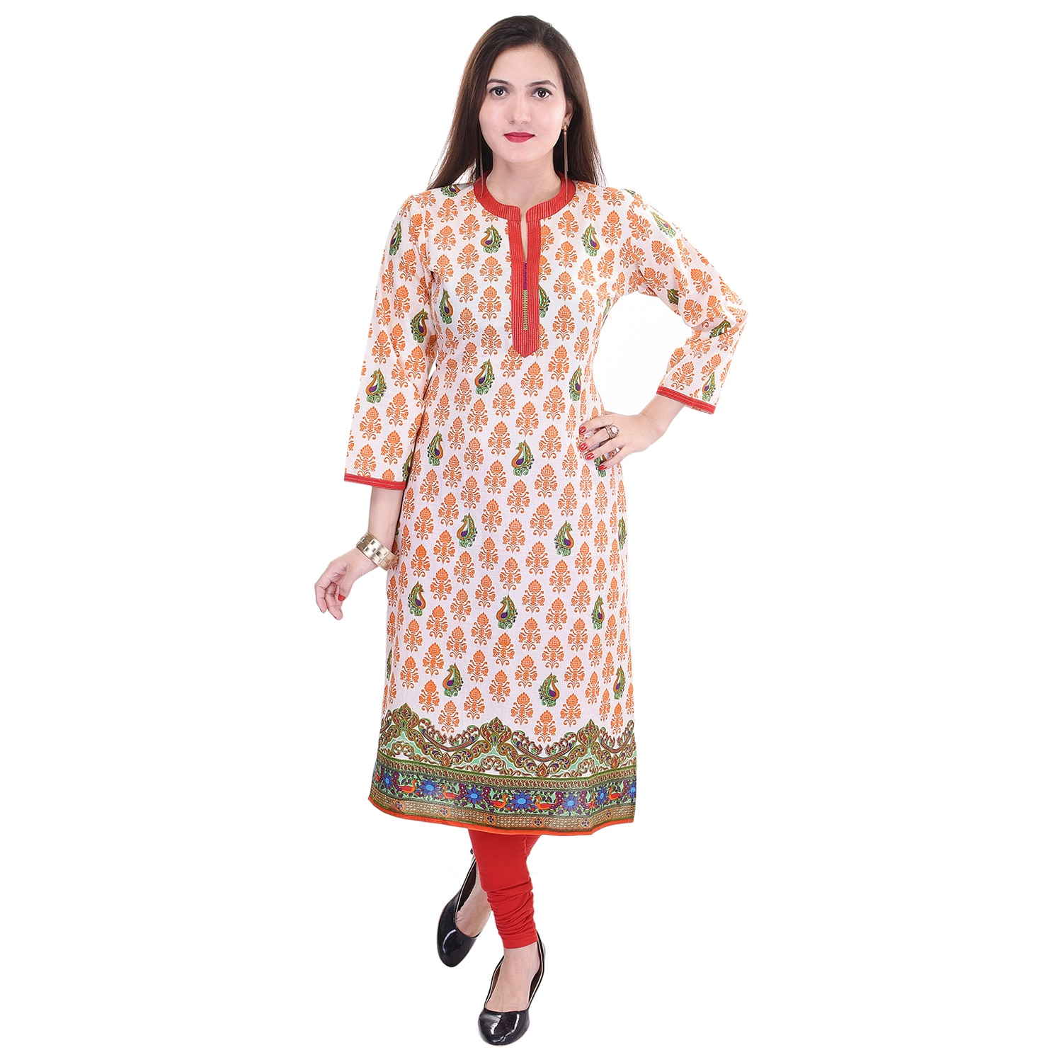 This is Cotton Printed Kurti with small embroidery on fashion patti with zari. We have large range of Embroidery Kurtis with Quality Fabric, Fine stitching, Unique Design. We are Manufacturer of all types of Kurtis in Jaipur Rajasthan.