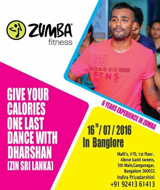 MASTER ZUMBA CLASS  BY SRILANKA ZIN DHARSHAN on this sat 16th july 2016 at Malli's fitness centre