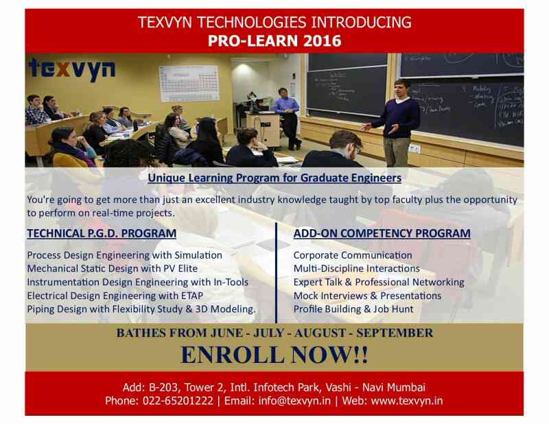 Texvyn Professional Engineering Program. Enroll now for challenging career