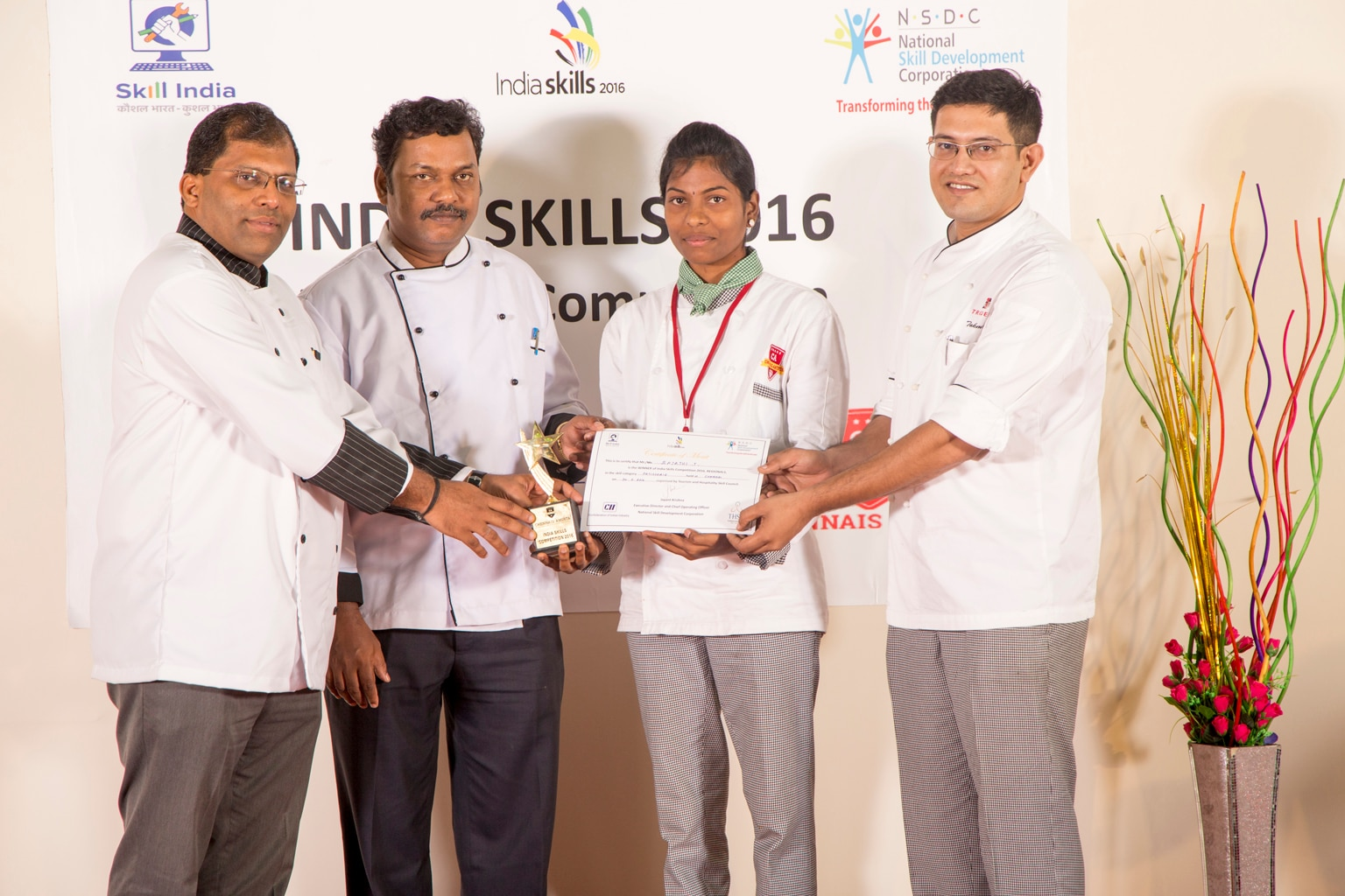 Leading Hotel Management College in Chennai  Chennais Amirta OMR branch Proud student Ms.Rajathi B.Sc, G Batch who has won 1st prize of RS 75, 000 in National Level Competition of INDIA SKILLS COMPETITION – 2016 in Patisserie and Confectionery department.