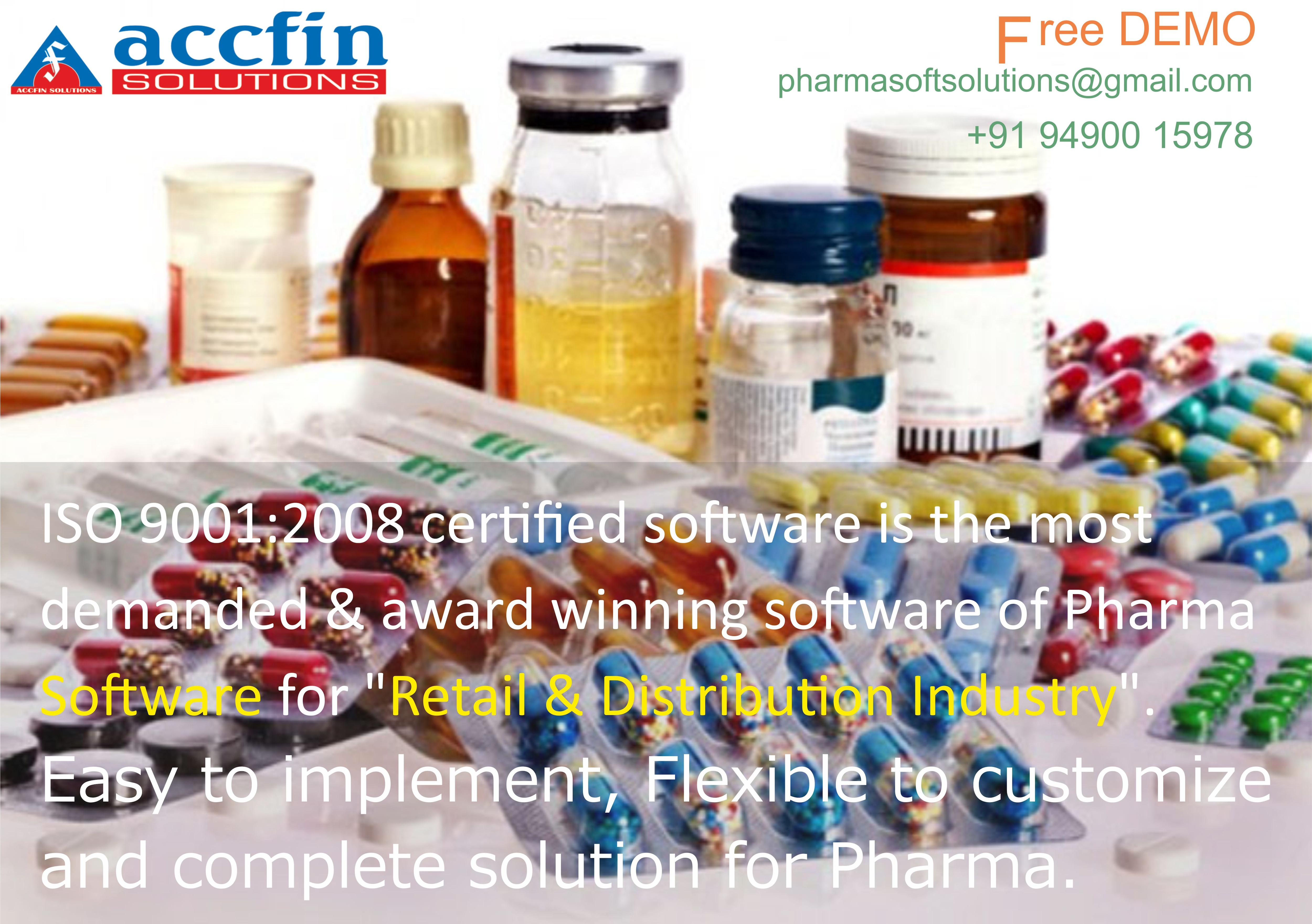 Pharma Software An ISO 9001:2008 certified software is the most demanded & award winning Pharma Software for