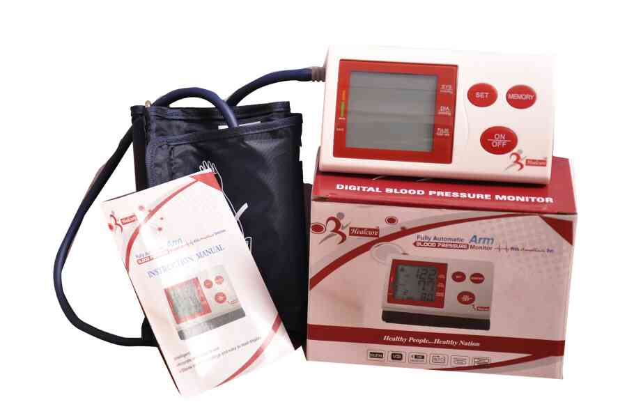 Healcure digital blood pressure monitor can be used without battery with help direct current through mobile chargers