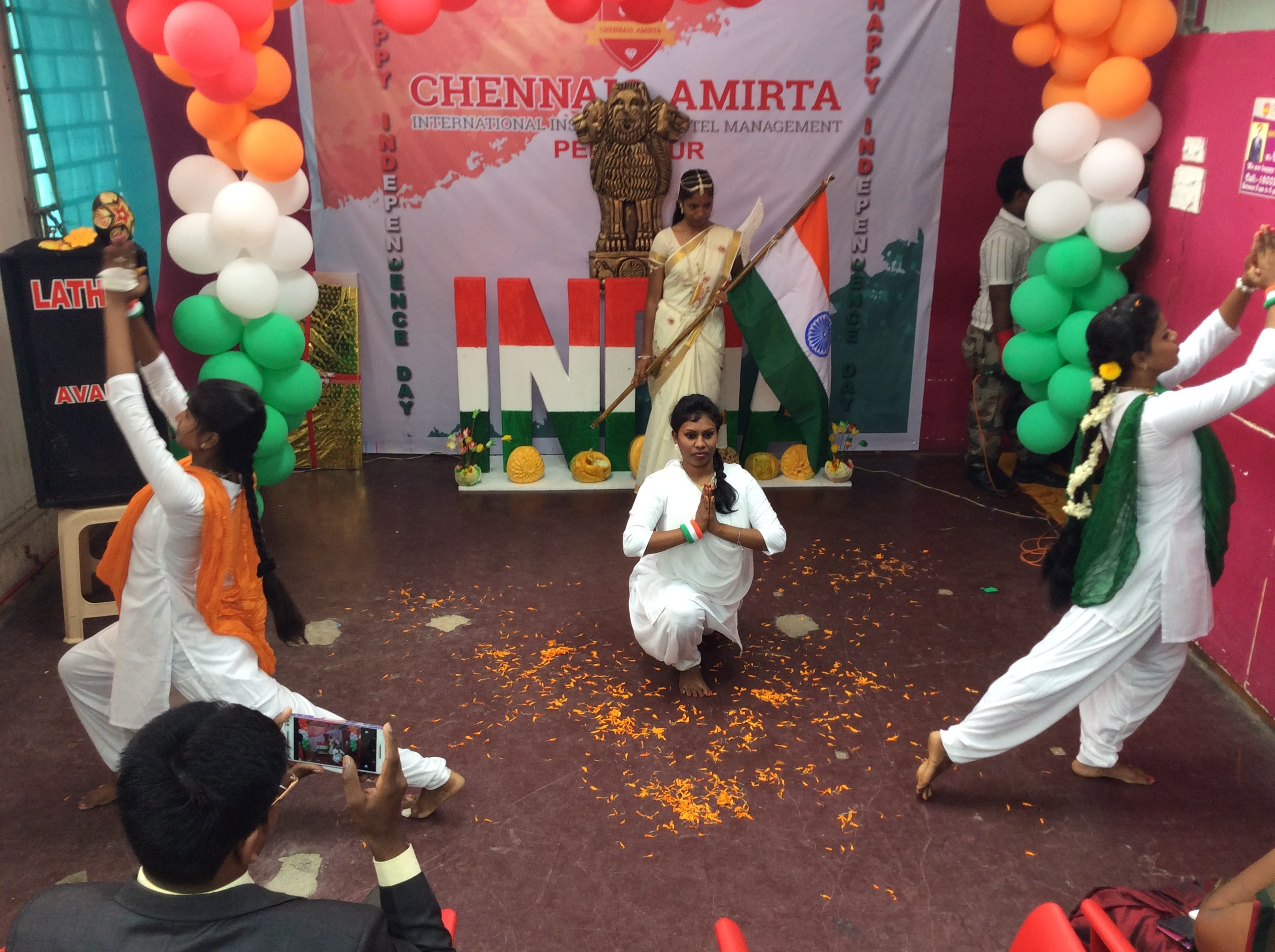 Best Hotel Management College in Tamilnadu   The Independence Day celebration was celebrated by the Chennais Amirta's Perambur branch students and staff on 15th August 2016. All the students and staff members gather round to celebrate Independence Day. The flag hoisting ceremony takes place followed by the National Anthem. After this various cultural activities like folk dances, skits and dramas are held in the Chennais Amirta International Institute of Hotel Management.