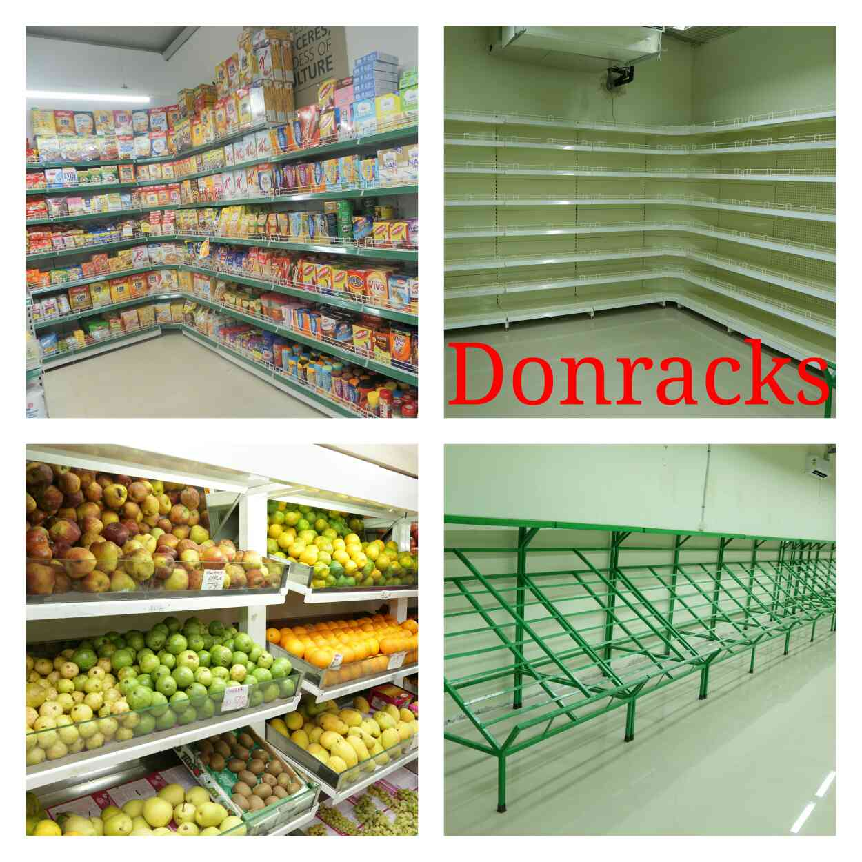 Best Manufacturer of Supermarket Racks in India.  Donracks is the most popular brand of supermarket racks for more than 20 years. Many India's leading showrooms like Reliance, Heritage supermarkets, Viveks showrooms, More showrooms, Pothys, Spinach showrooms, Food World supermarkets, Grace Supermarkets, Just Born showrooms, Next showrooms, Europa showrooms, Kannan departmental stores, Chennai Silks showrooms, Nilgiris supermarkets, Sri Krishna Sweets shops, Videocon showrooms, Indiabulls showrooms, Lifestyle showrooms, Reliance Trends showrooms, Spencer's supermarkets, Croma Showrooms, Jeyachandran Showrooms prefers only Donracks. For high quality steel racks for your supermarket choose Donracks -