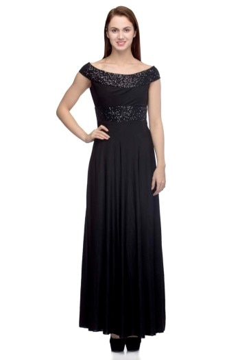 UrSense Black Maxi Dress   Own this Black Maxi Dress from UrSense and carry a timeless fashion every time you wear it. Exhibiting beautiful Sequin detailing on the shoulders, this Off  Shoulders polyester  Maxi Dress with  side zipper.  Always get those elegant looks wearing this Dress.
