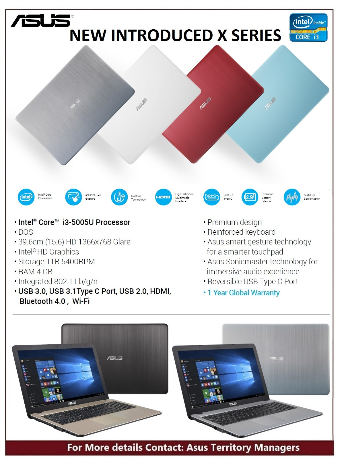 Asus x540 .. New series of Laptop ..with USB 3.1 Type C Port & color Option - 1 year Global Warranty ..  @sonexcomputers 9376 480305