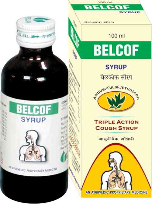 Belcof Syrup  Salient Features of Belcof Syrup :-  Effective in productive, unproductive cough, Asthmatic cough, Spasmodic cough, bronchitis etc.  It is an anti allergic and resistant allergic cough syrup  It will resists allergic cough especially for dust allergy  It will remove phlegm from brain  It will give relax from Coryza (cold), sore throat, hoarseness  It will reduces severity and frequency of cough  It will restores free easy breathing  Will give Quick and Lasting relax from dry cough common in smokers, singers and speakers  vadodara, Gujarat, India.