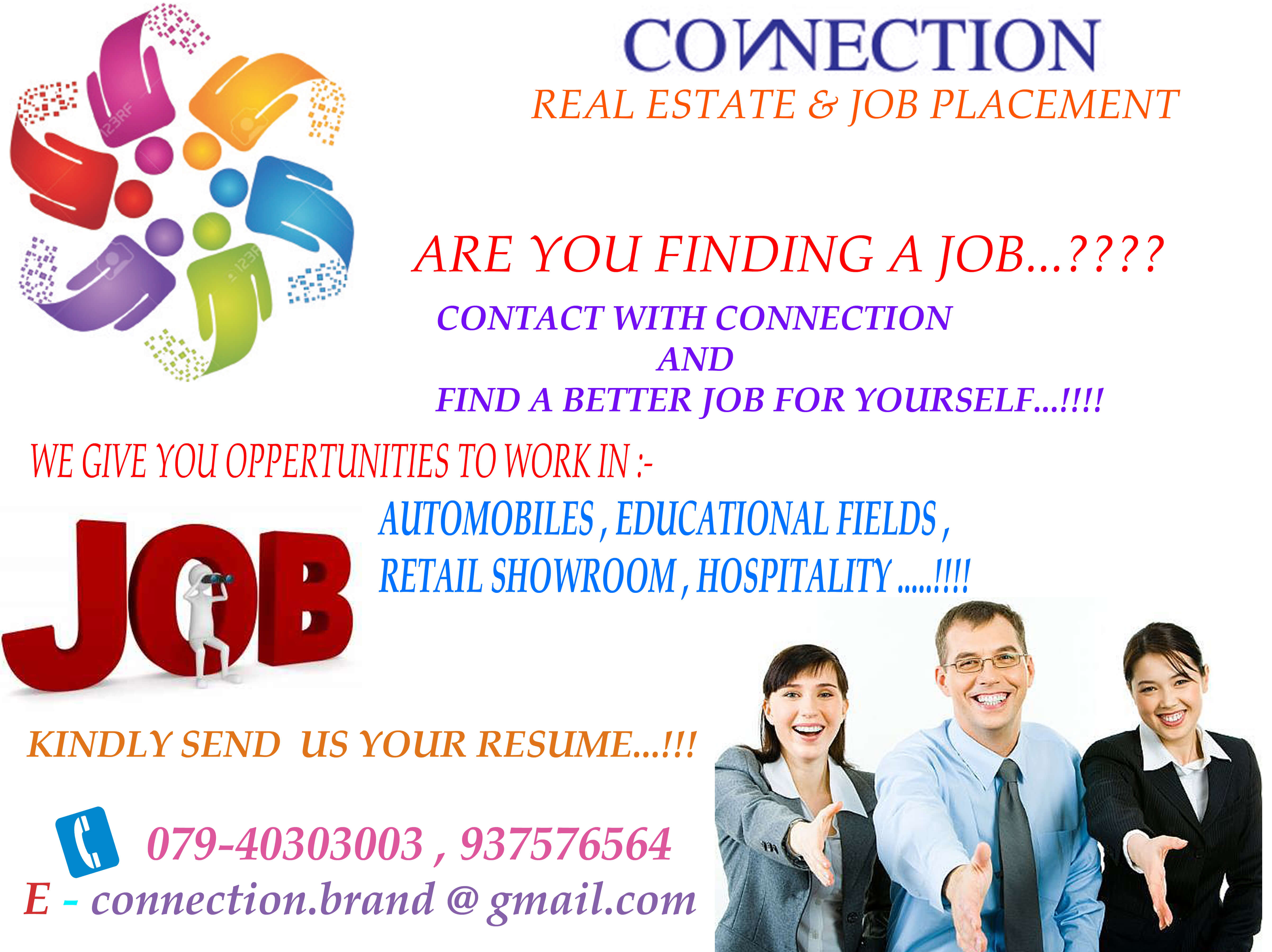 We are The Leading Placement Consultant in Ahmedabad, At Connection we provide the Job in IT Industry, Banking Industry, Finance Industry, FMCG Industry in all Over India Placement.
