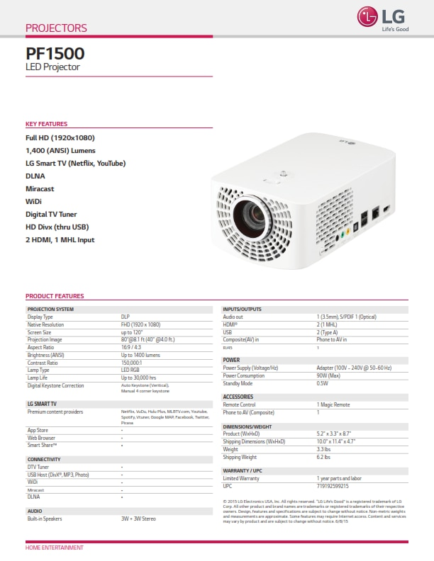 LG PF1500 Led Full HD Projector .. with 1500 lumens ..  30, 000 lamp hours life.. 2 HDMI, 2 USB .. and money Feature ..  @sonexcomputers 9376 480305