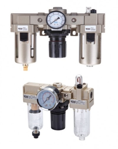 Modular type for easy and fast maintenance.     Suitable for wall mounting     Filter-Bronze filtering element     Regulator-Diaphragm operated, relieving type     Lubricator-Fog/mist type lubricator for fine adjustment and propositional lubrication     Steel body guard models are also available     Suitable for all type of pneumatic systems     Available in auto/manual drain  Category: FRL.    Bore : NA     Graphic Sig