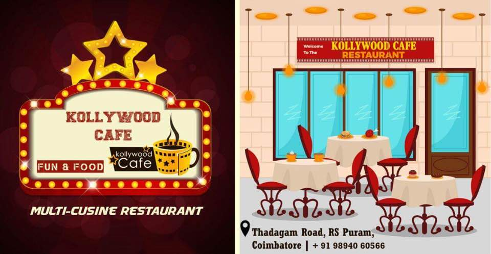 Kollywood cafe a exclusive concept based multi cuisine restaurant located in Thadagam Road R.S.Puram . It's known for its Kollywood stars waiting outside the restaurant to take pictures with the customers . They provide delicious food that retains its customers . And also good ambience that makes us feel good .