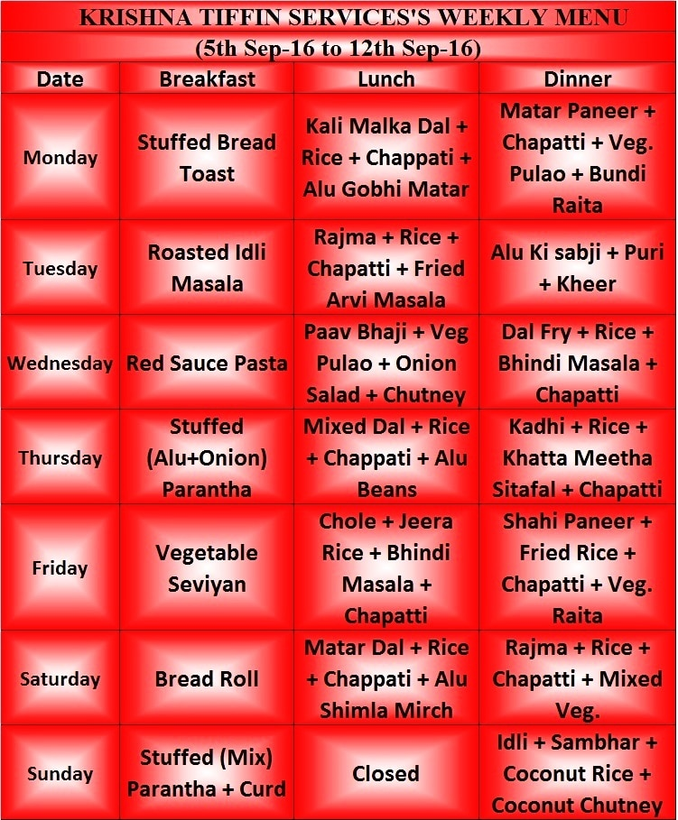 Krishna Tiffin Service & Catering , Rohini,  Menu for the Week 5th Sep-16 to 12th Sep-16