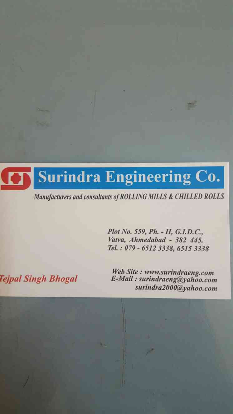 Are you looking for Rolling Mills Machine in Ahmedabad??  Come to us!!  We at Surindra Engineering Co. provide you best quality Rolling Mills and Chilled Rolls at best price.  Contact Mr. Navjot at 8155053885